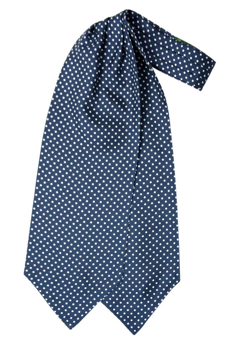 Silk ascot with white polka dot design on a blue background
