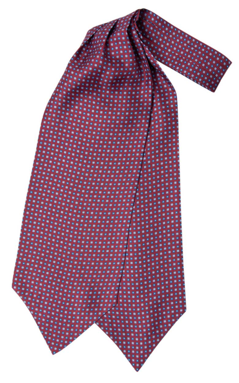 Silk ascot with blue geometric design on a burgundy background