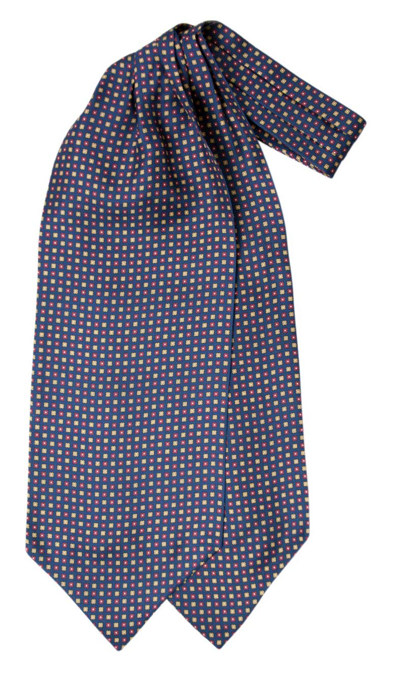 Silk ascot with geometric pattern on navy background