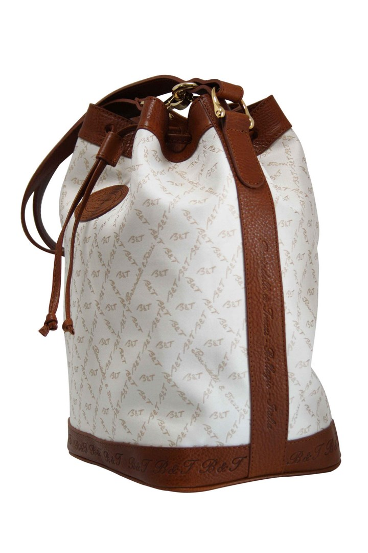 Bucket bag in white fabric and brown leather