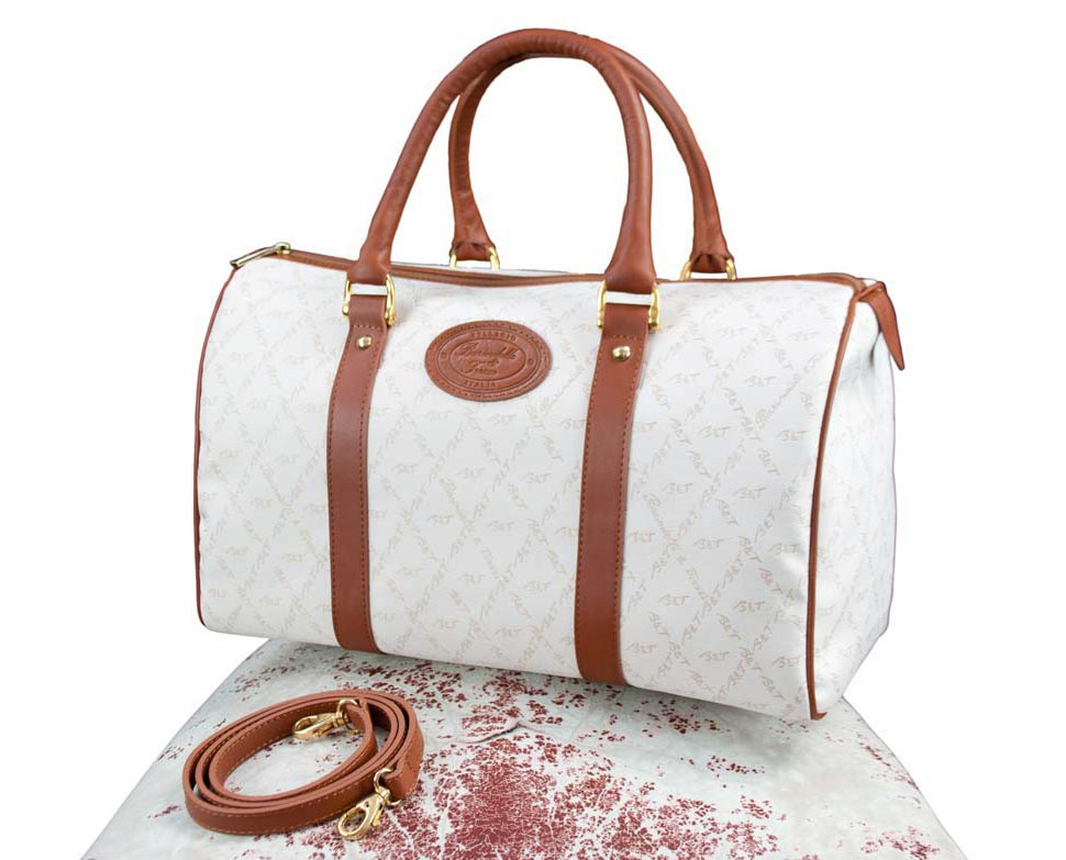 Fabric and leather Satchel