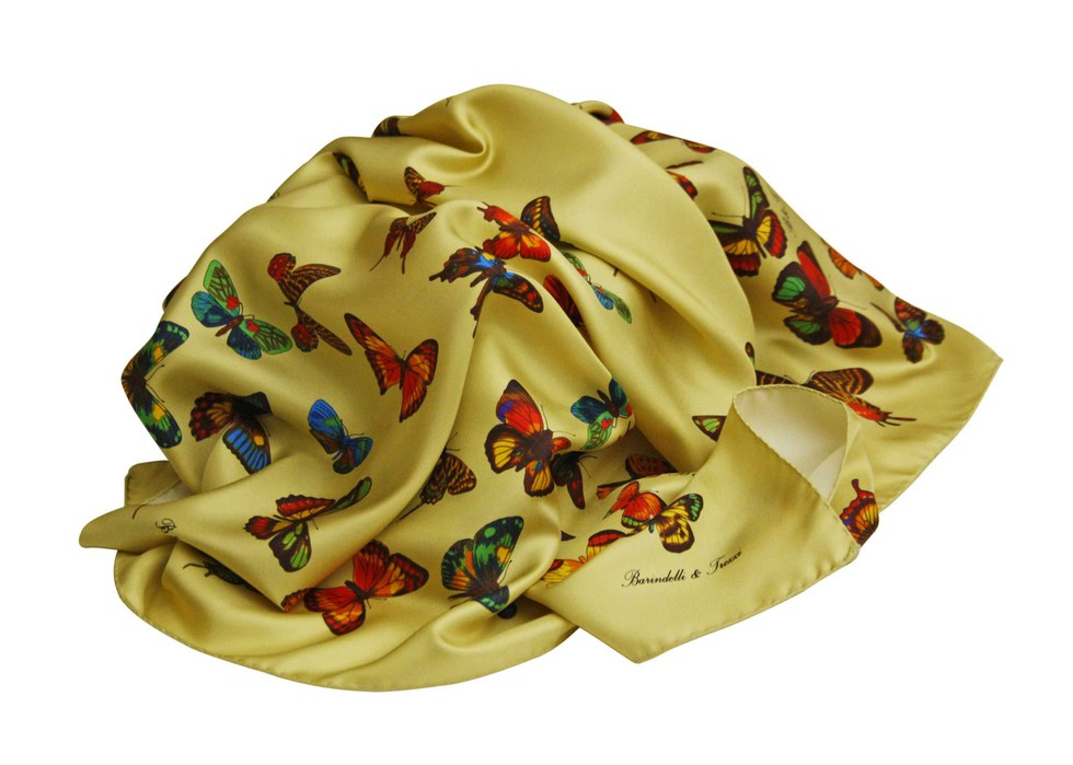 Scarves butterfly gold background