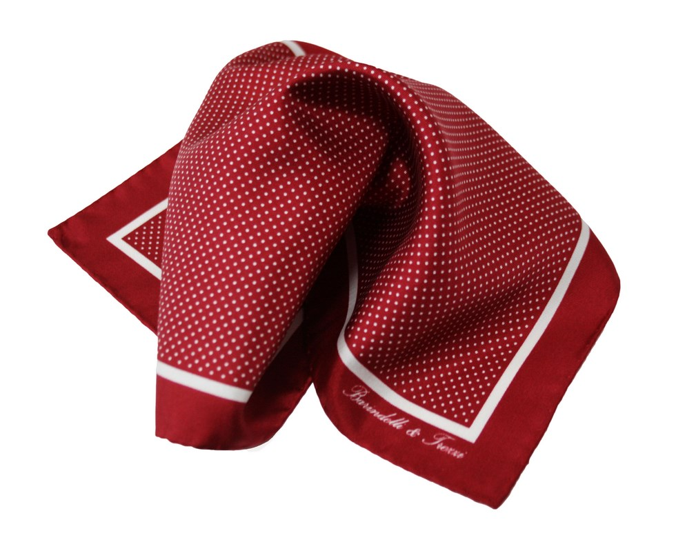 Classic silk handkerchief with burgundy and white polka dot