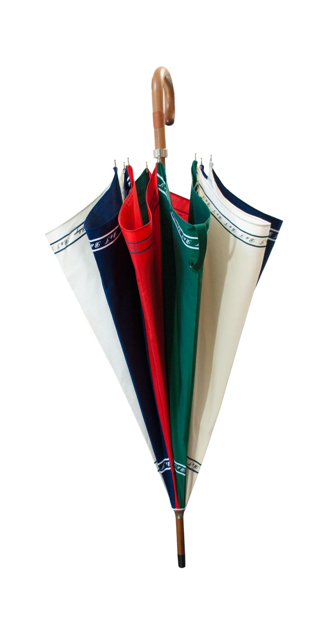 Portioned umbrella, blue-red-green-cream