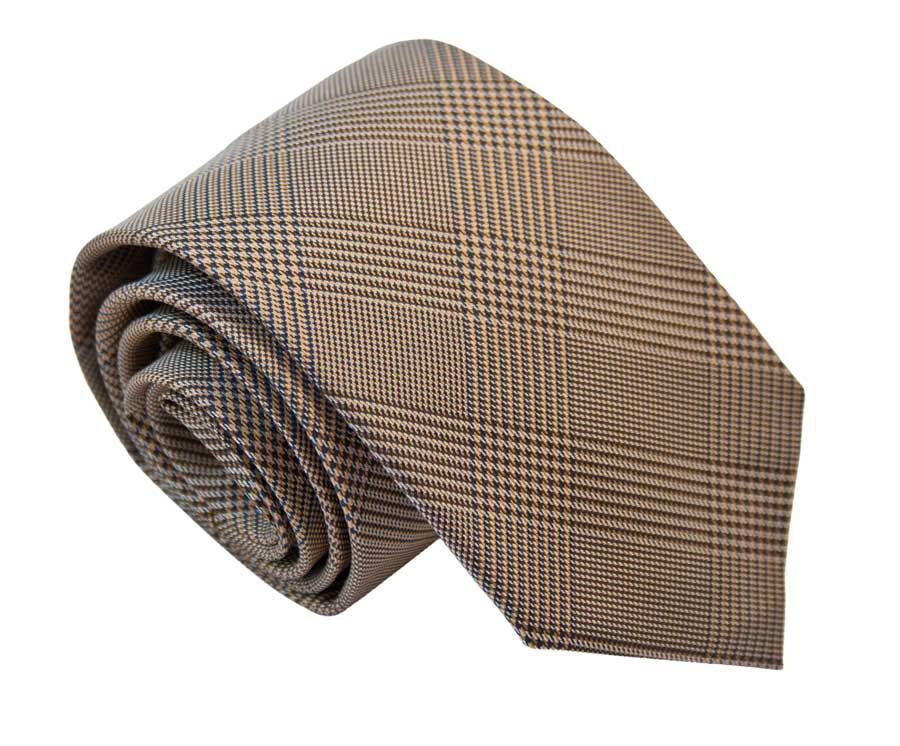 Tie with Prince of Wales pattern - Brown