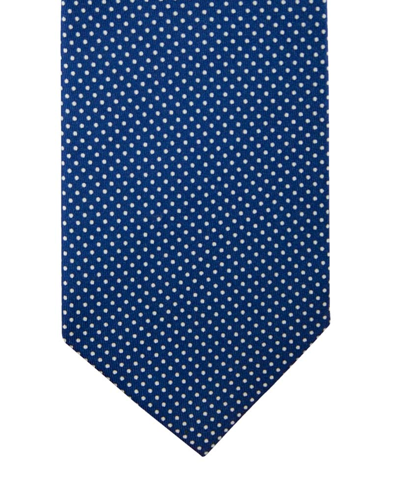 Blue tie with white polka dot