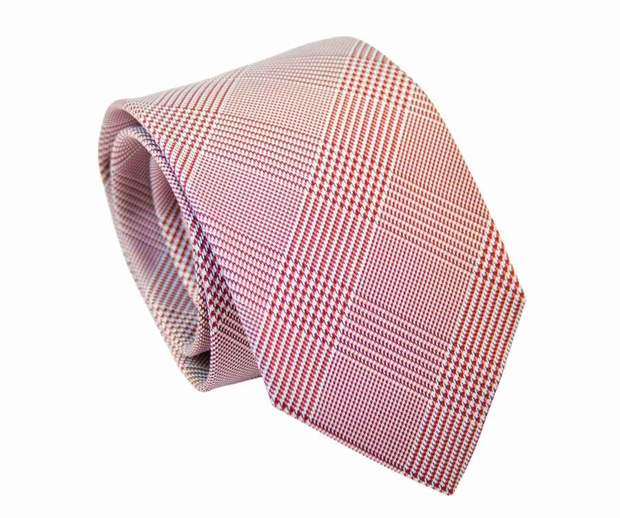 Red Prince of Wales patterned tie