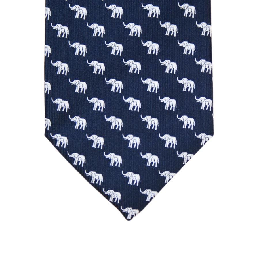 Men's silk tie - elephant design
