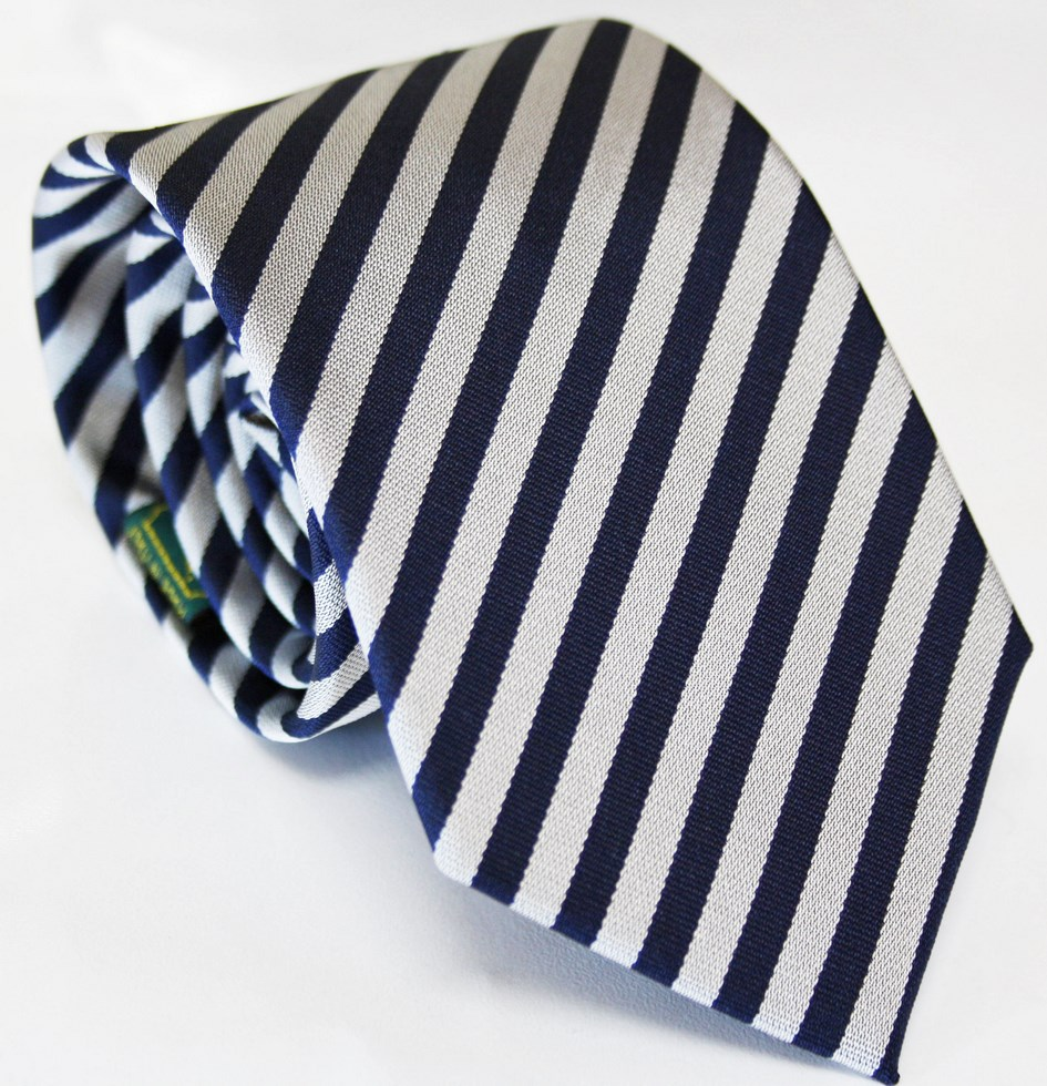 Ties striped yellow and gray with navy background