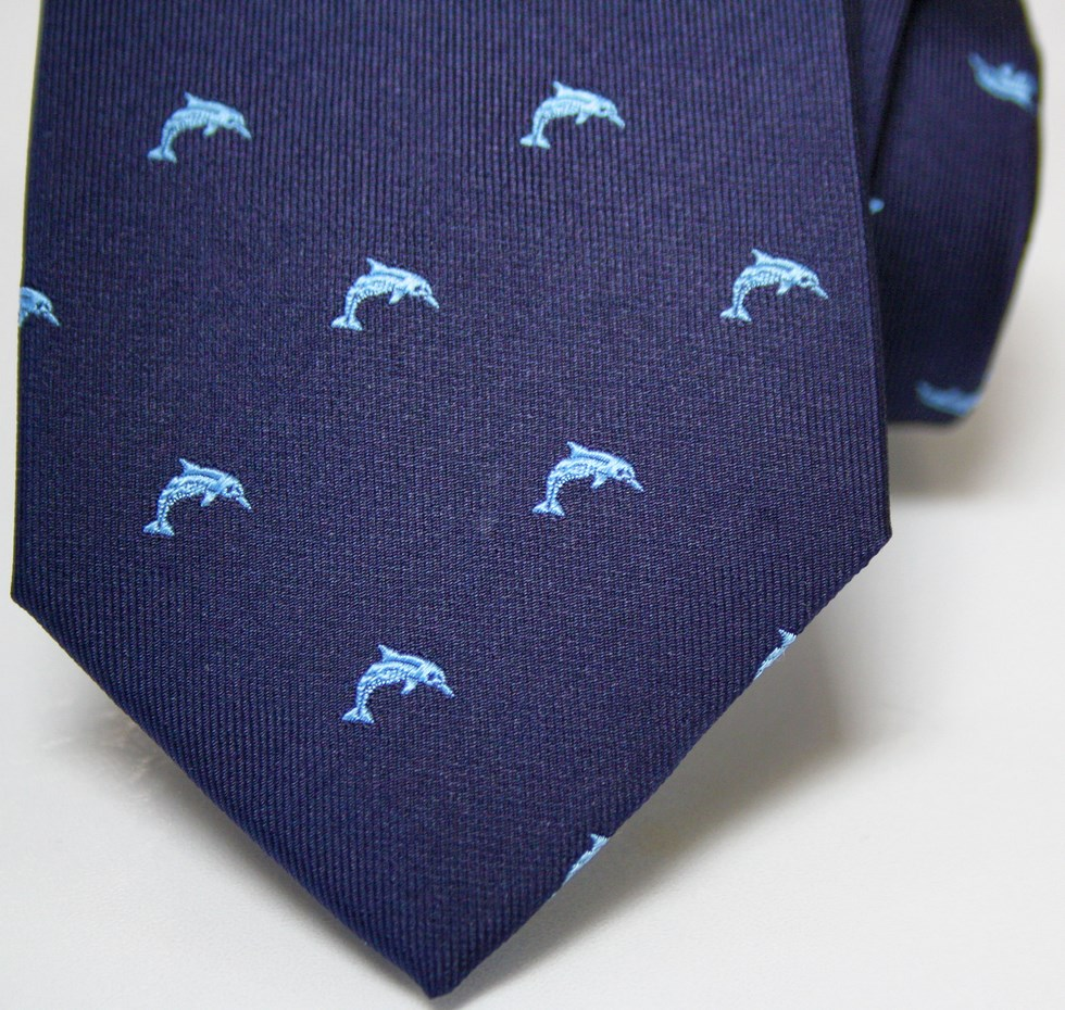 Ties solid color with fancy dolphin