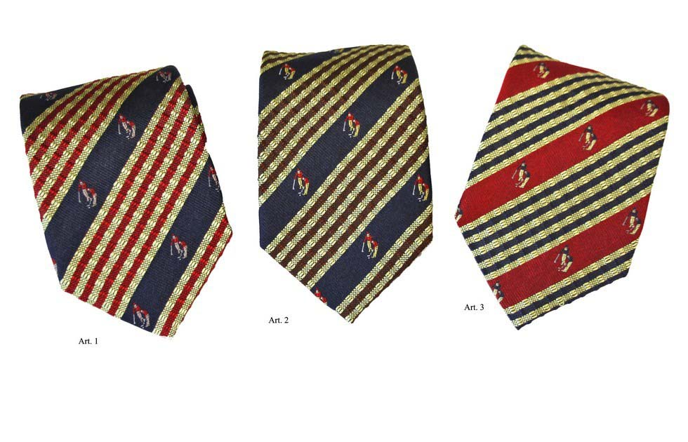 Striped silk ties with golfers