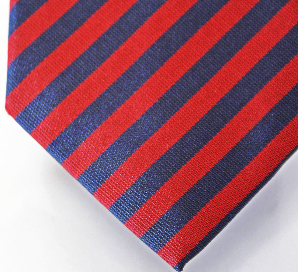 Ties striped blue and red with navy stripes