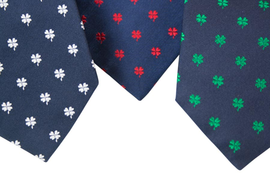Silk tie - four-leaf clover design - blue solid color background