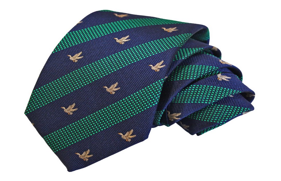 Italian silk ties striped, design duck in flight