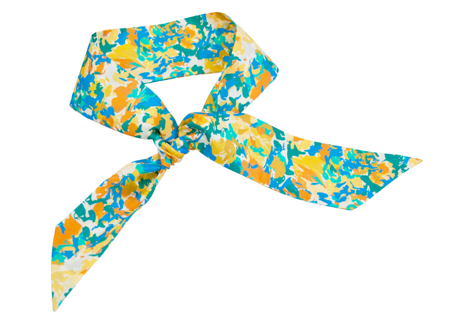 Silk band with yellow, green and orange spots patterns