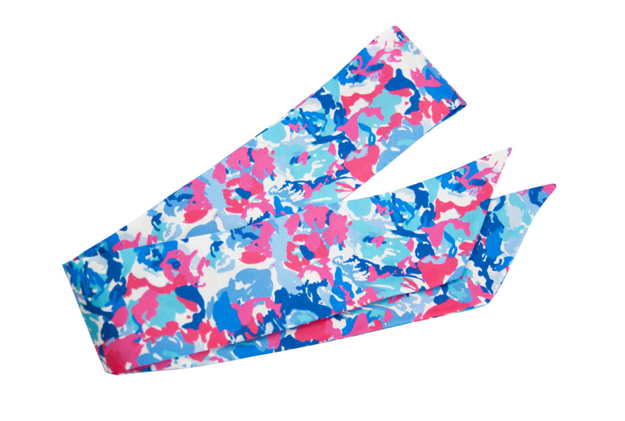 Silk band with pink and blue spotted pattern