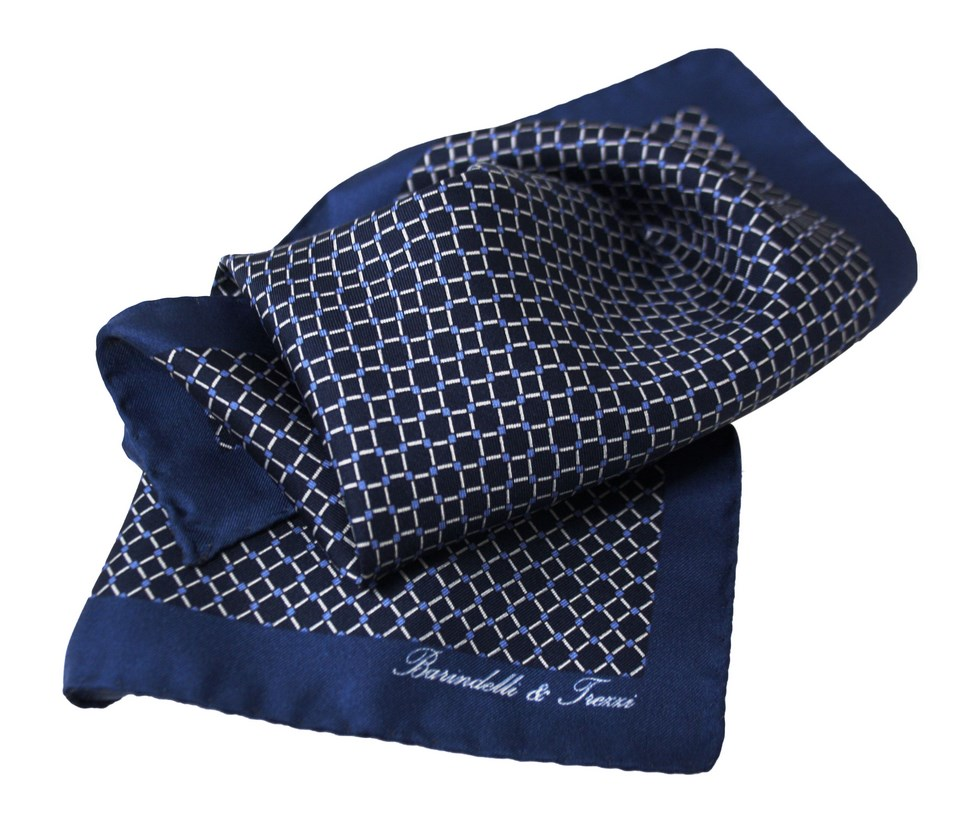 Blue, navy blue and white checked geometric handkerchief