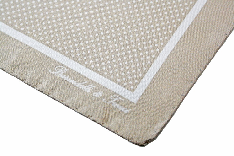 Classic silk handkerchief with beige and white polka dot print