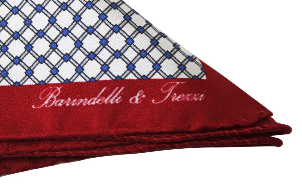 Geometric white and bordeaux checked handkerchief