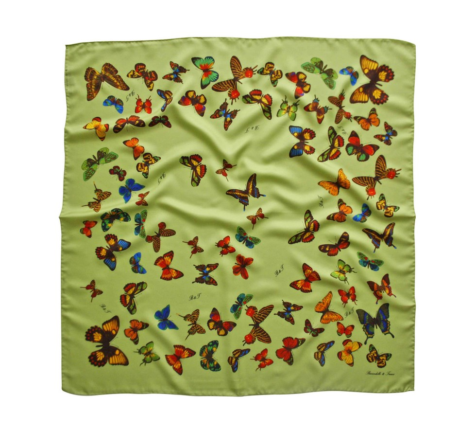 Scarf butterflies light green background