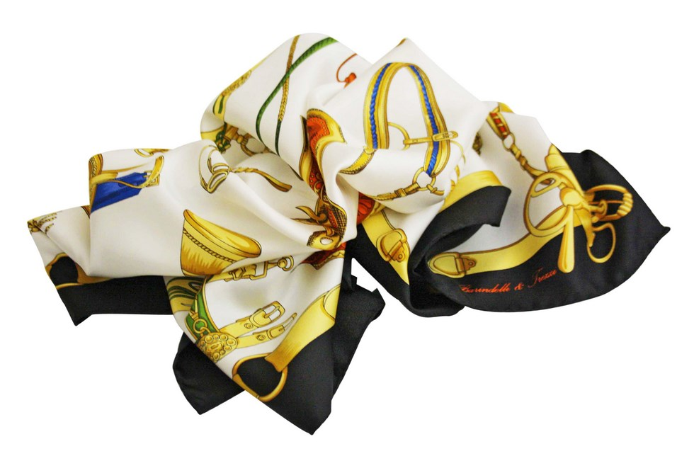 Scarves fancy saddles and buckles, white background with black e