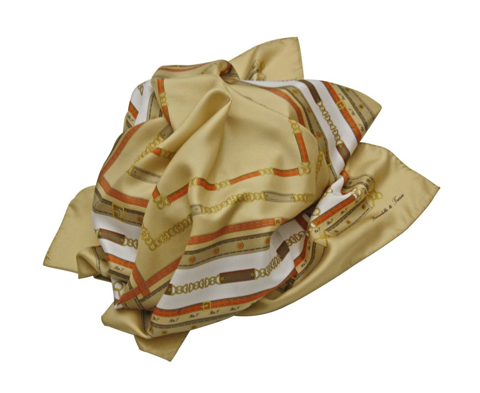 Silk scarf chains and belts - beige