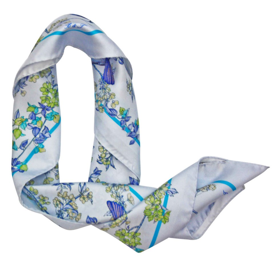 Scarves Barindelli & Trezzi fantasy blue and green birds