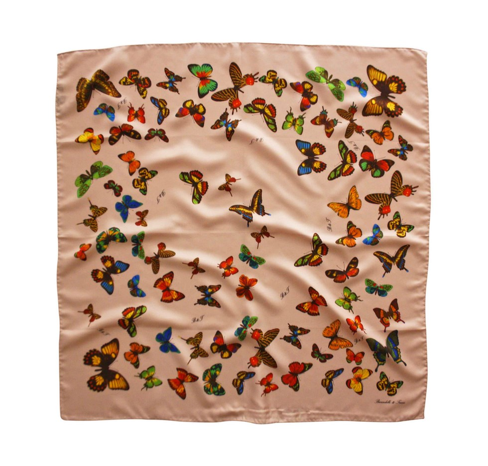 Scarf butterflies with pink background