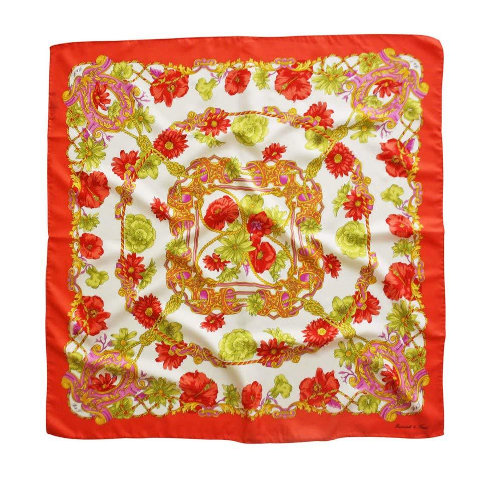 Scarves in flowers fantasy - red coral