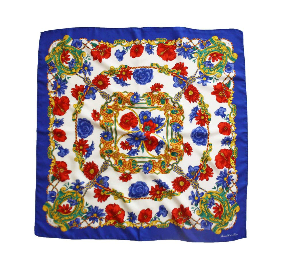 Scarves fantasy flowers - Blue and red