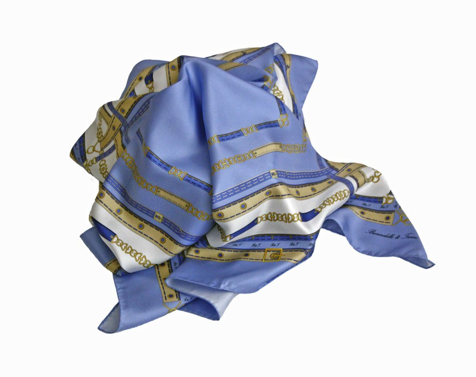 Silk scarf chains and belts - blue