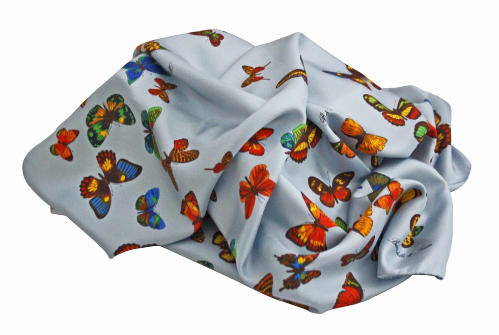 Scarf butterflies blue background