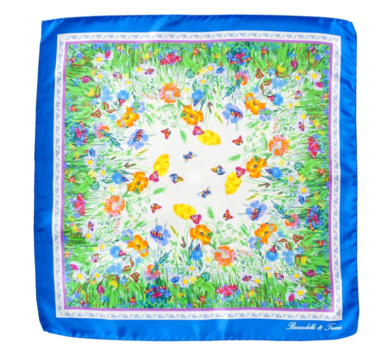 Silk woman handkerchief - fantasy wildflowers - blue