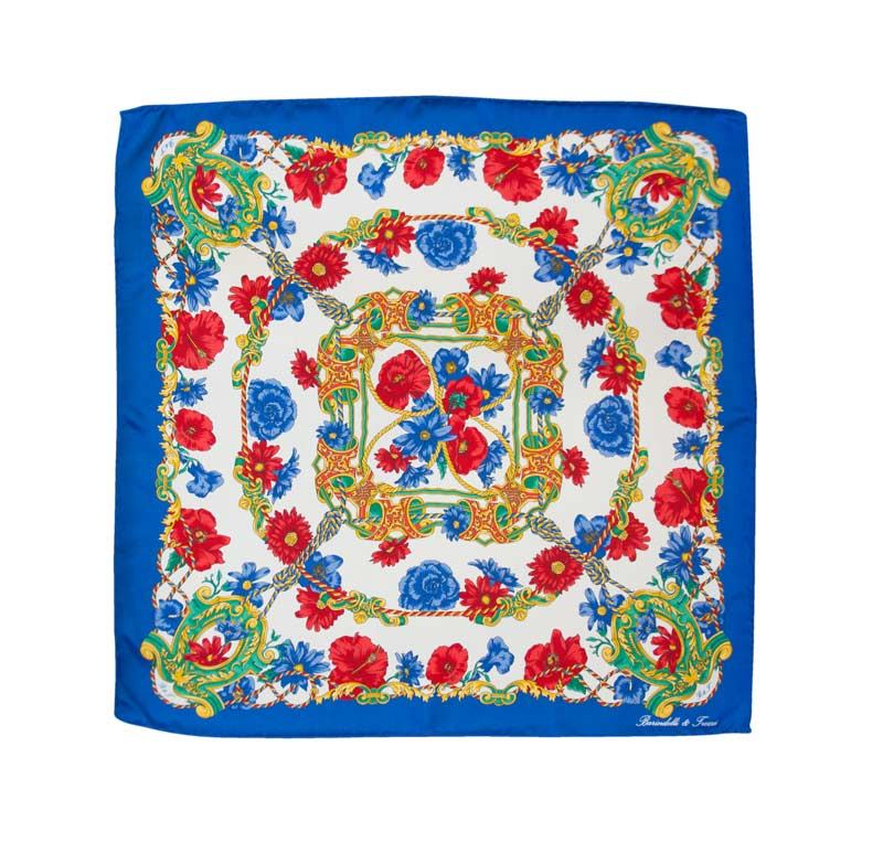 Floral silk handkerchief with blue border