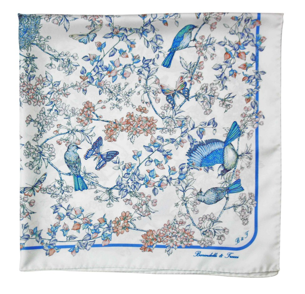 Scarves Barindelli & Trezzi fancy blue birds
