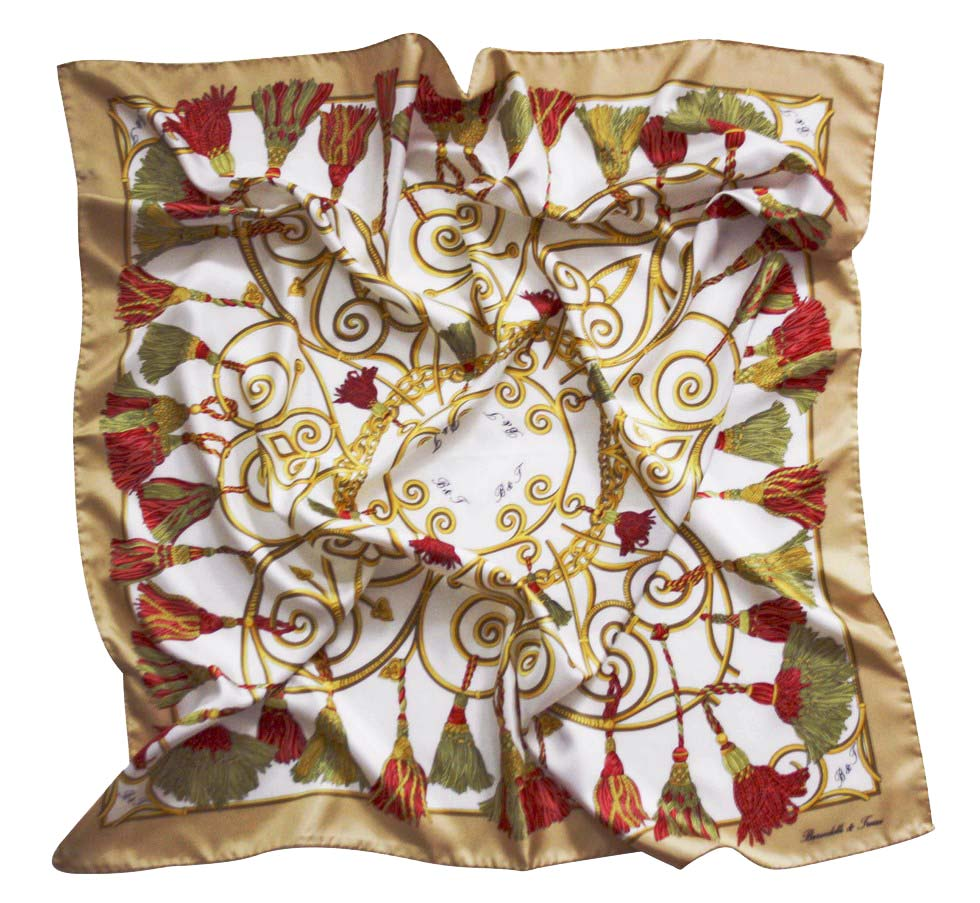 Foulard embrasse - white, red and beige