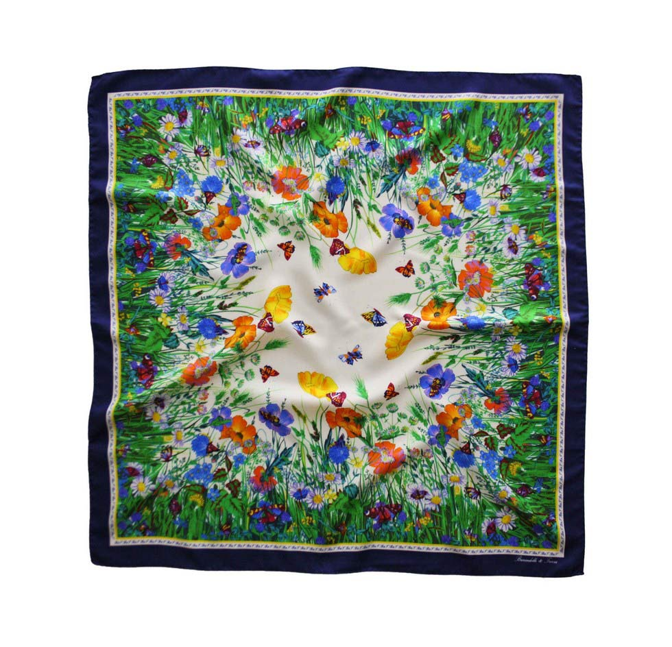 Foulard flowers and butterflies with navy blue border