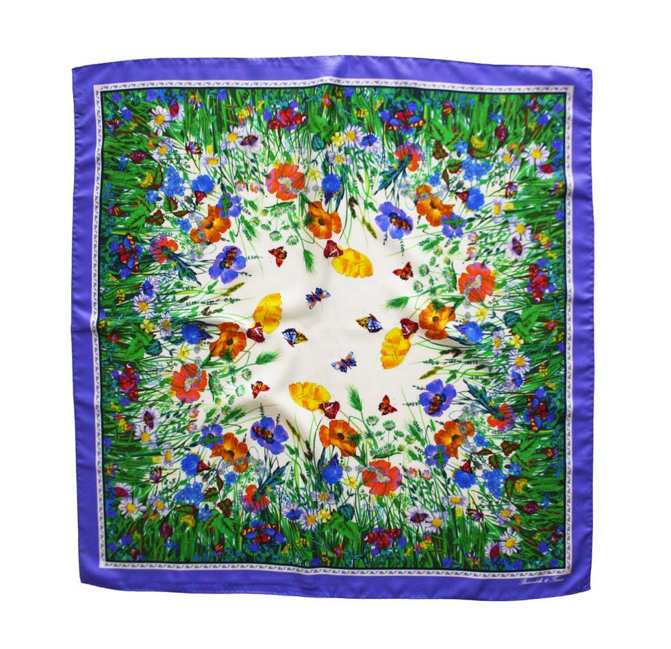 Silk scarf with border lilac flowers and butterflies