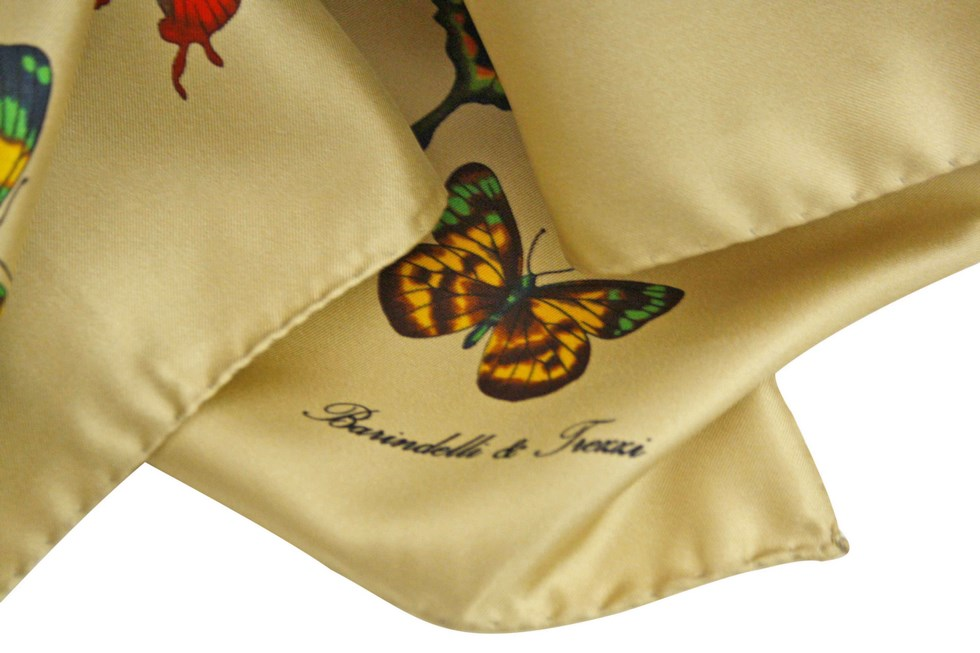 Scarf butterflies beige background