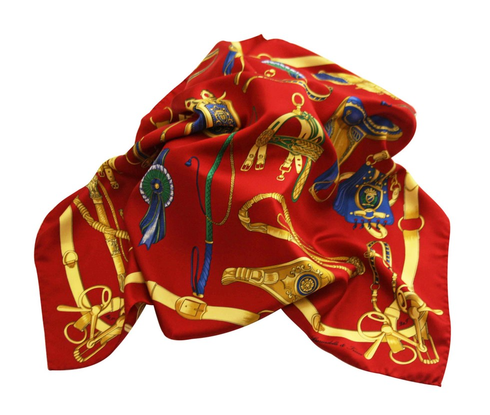 Foulard fantasia selle e staffe, red