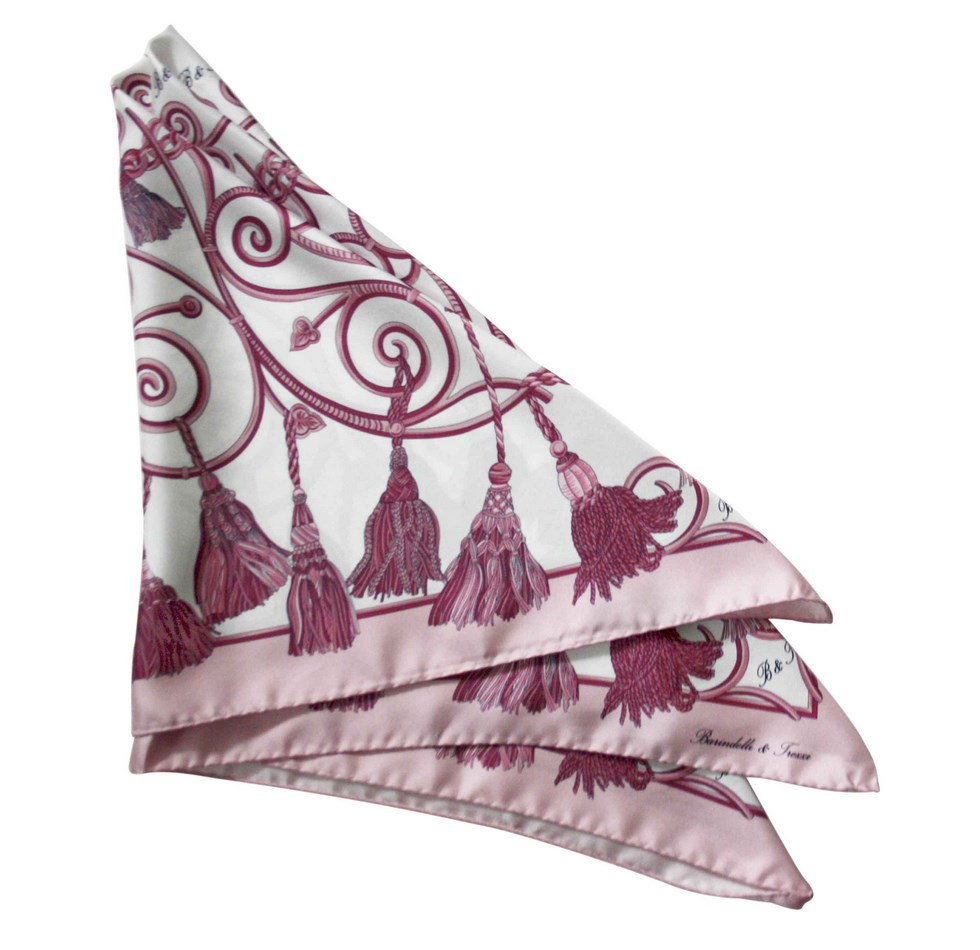 Foulard tie-backs - white, pink