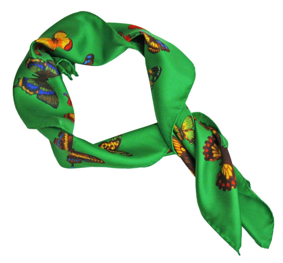 Italian green scarf with butterflies design