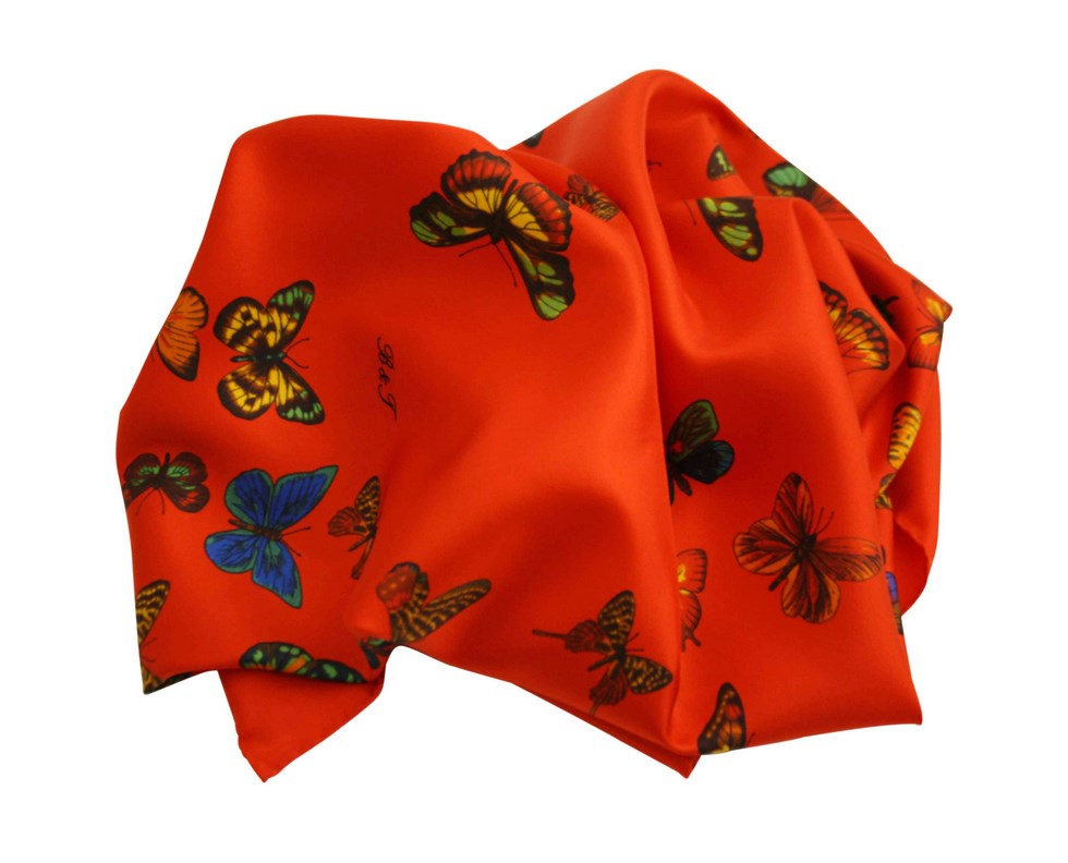 Scarf butterflies red background