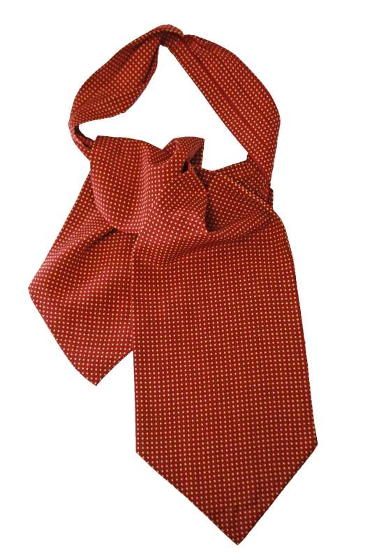 Burgundy Ascot with yellow polka dots