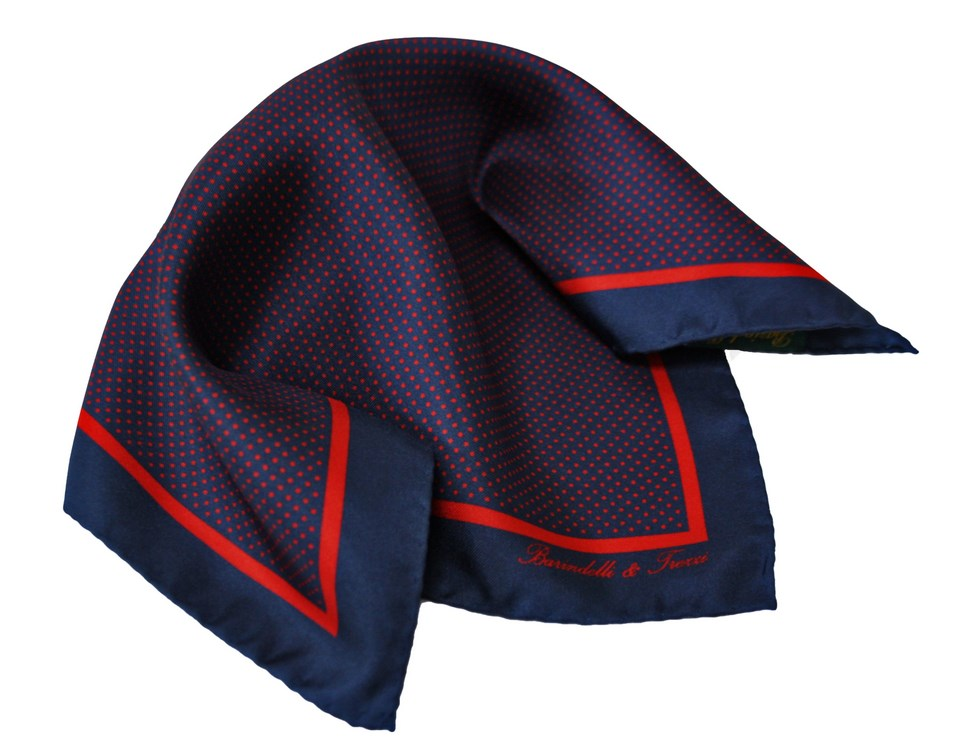 Classic silk handkerchief with navy and red polka dot print