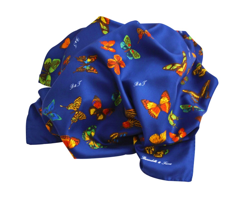 Scarf blue background butterflies