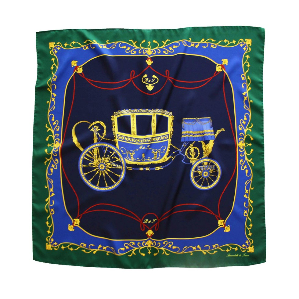 Elegant scarf with fancy carriage, blue navy - green