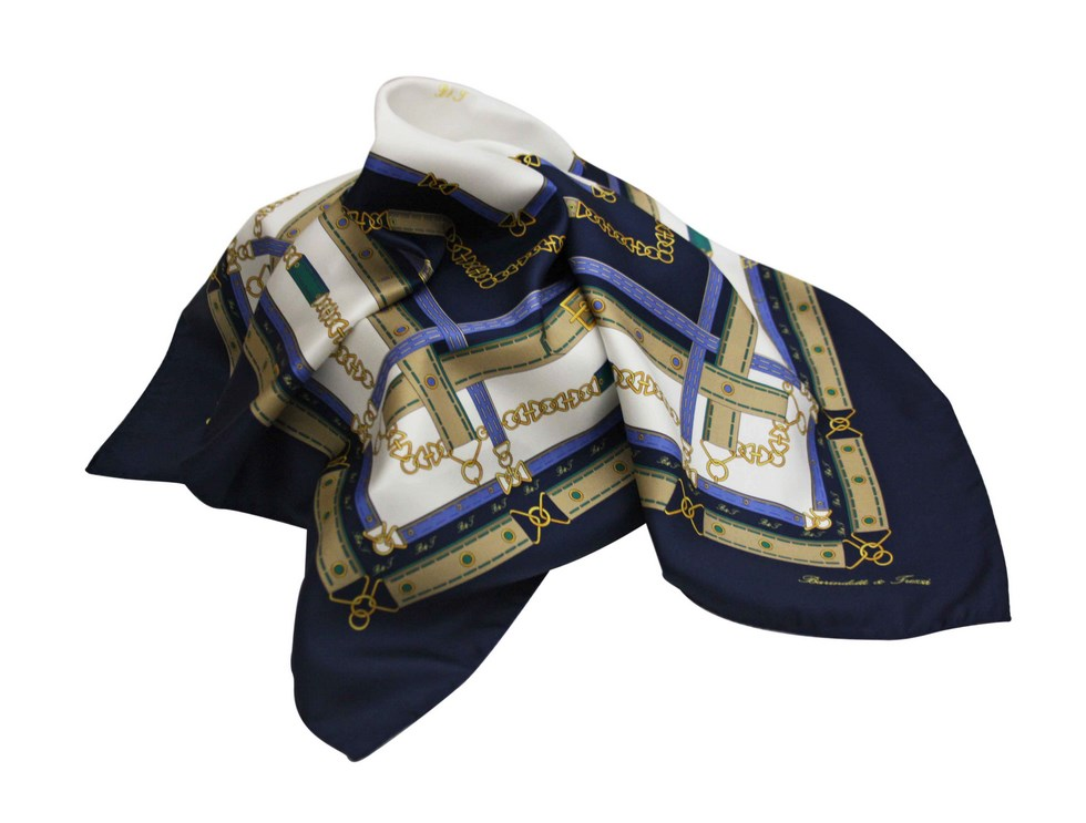 Silk scarf chains and belts - navy
