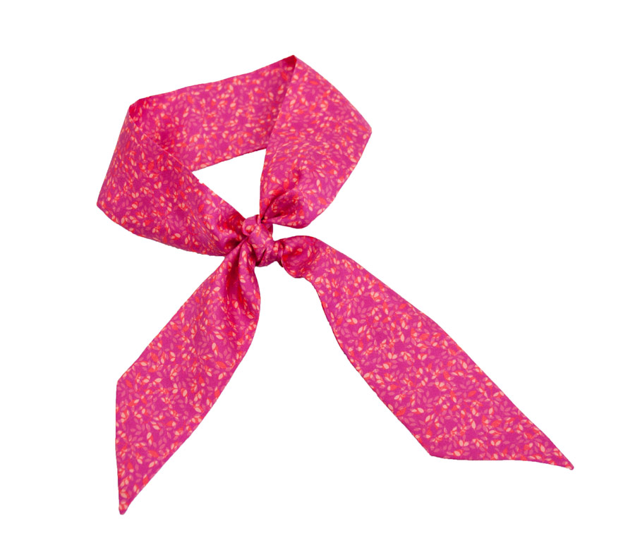 Silk ribbon with fuchsia flower design