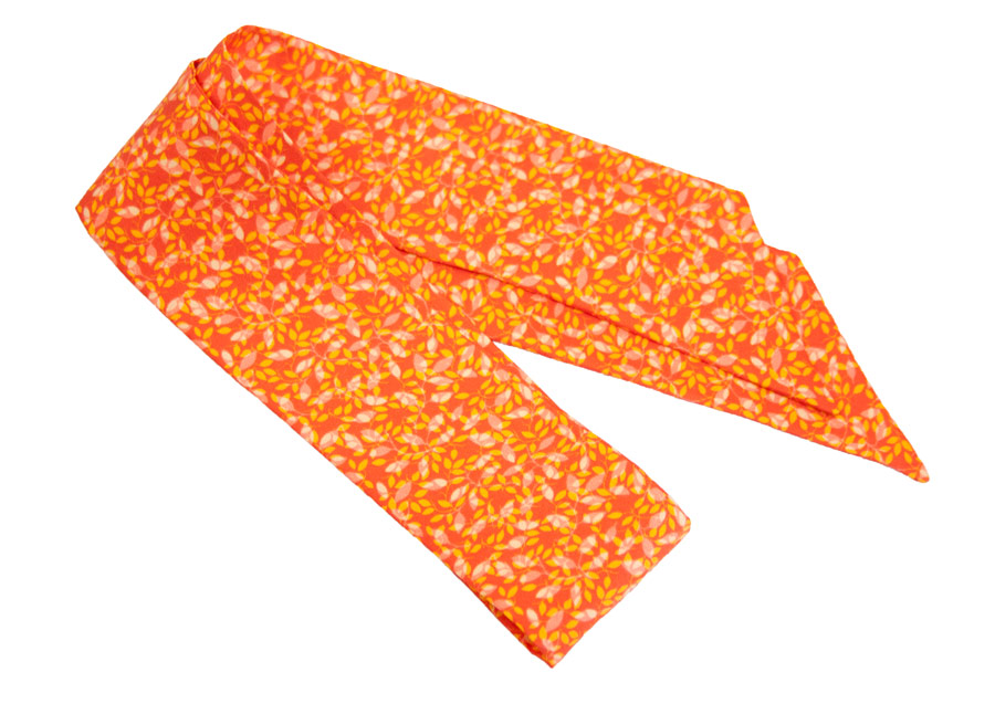 Silk ribbon with orange flower design